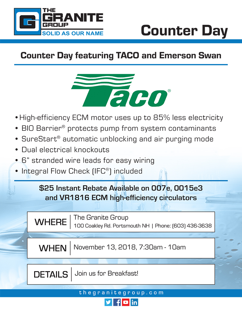 Portsmouth Counter Day Featuring Taco And Emerson Swan Join Us Pump Electrical Wiring Granite Group Event 11 13 18 Download The Flyer